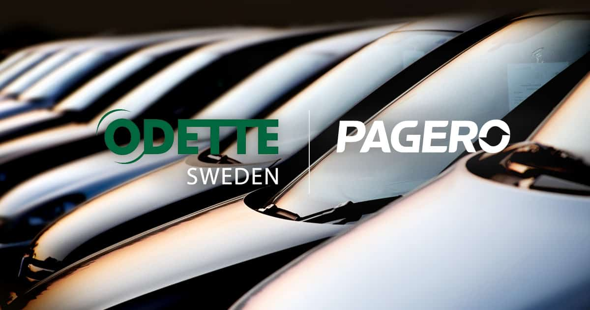 Odette & Pagero logos on image with cars